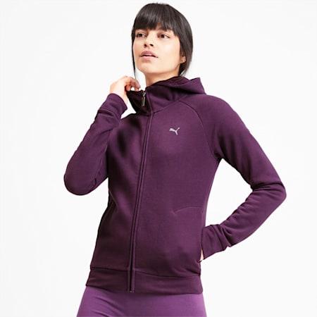 Sudadera de polar con capucha y cierre completo Athletics para mujer, Plum Purple, pequeño