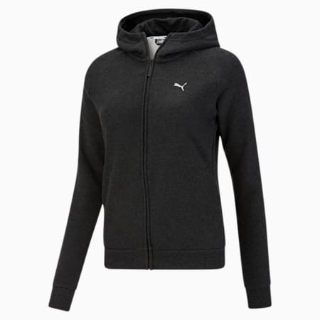 Athletics Women's Full Zip Fleece Hoodie, Dark Gray Heather, small
