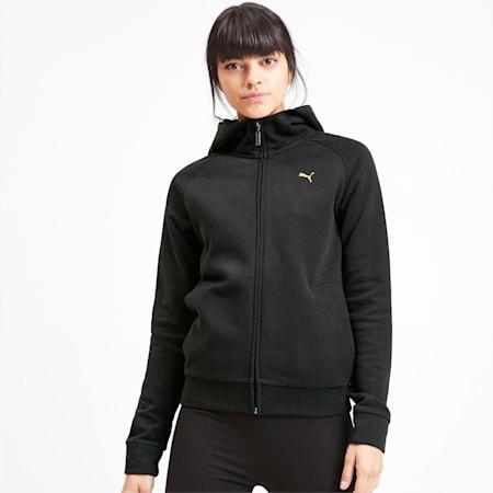Sudadera de polar con capucha y cierre completo Athletics para mujer, Puma Black, pequeño