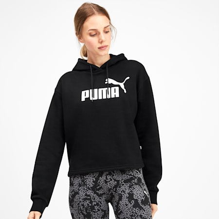 Elevated Essentials Cropped Women's Hoodie, Puma Black, small