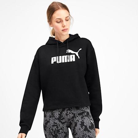 Felpa con cappuccio corta Elevated Essentials donna, Puma Black, small
