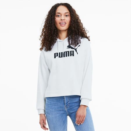 Elevated Essentials Cropped Women's Hoodie, Puma White, small