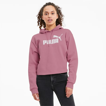 Elevated Essentials Cropped Women's Hoodie, Foxglove, small