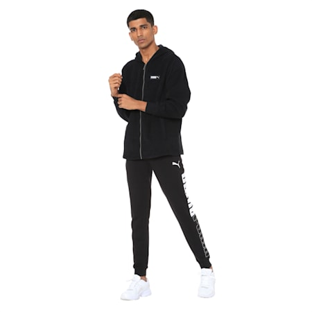 Fusion Fleece Hooded Men's Sweat Jacket, Puma Black, small-IND