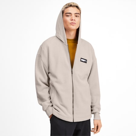 Fusion Men's Hooded Jacket, Overcast, small
