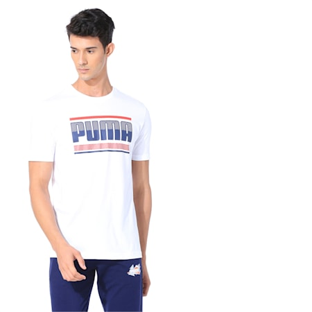 Graphic Short Sleeve Men's Tee, Puma White, small-IND