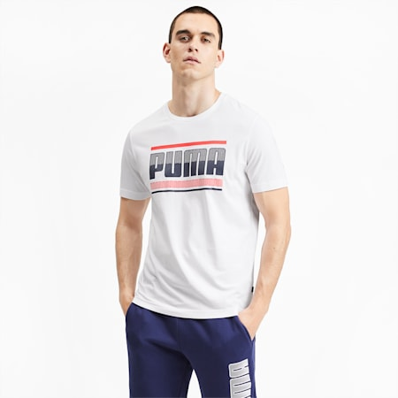 Graphic Short Sleeve Men's Tee, Puma White, small-SEA