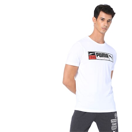 Gold Plate Brand Graphic Men's Tee, Puma White, small-IND