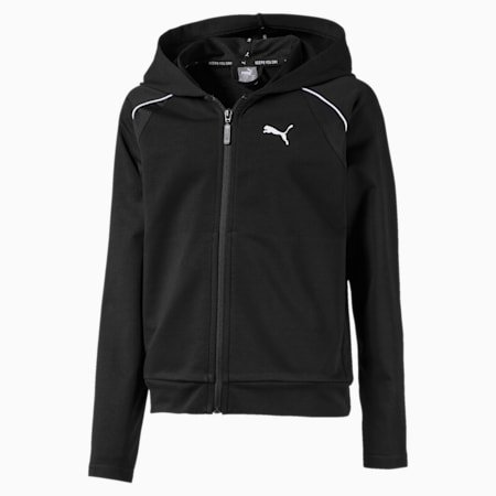 Active Sports Girls' Sweat Jacket, Puma Black, small-IND