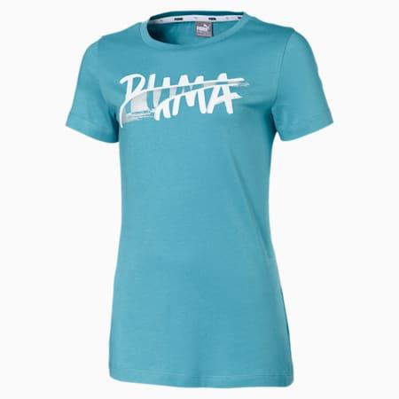 Alpha Logo Short Sleeve Girls' Tee, Milky Blue, small-SEA