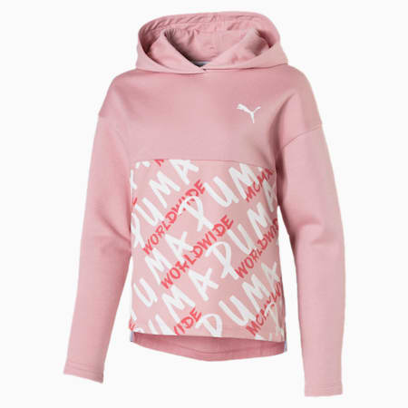 Girls' Alpha Hoodie, Bridal Rose, small-IND