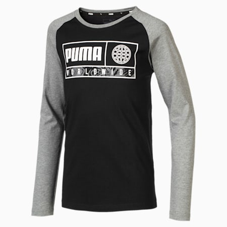 Alpha Graphic Long Sleeve Boys' Tee, Puma Black, small-SEA
