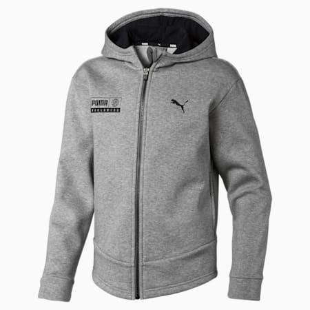 Men's Alpha Graphic Sweat Jacket, Medium Gray Heather, small-IND