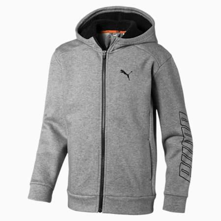Alpha Hooded Boys' Sweat Jacket, Medium Gray Heather, small-IND