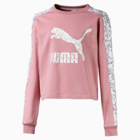 Classics Girls' Graphic Crew Neck Sweater, Bridal Rose-AOP, small-SEA