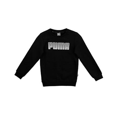 Boys' Crew Neck Sweater, Puma Black, small-IND