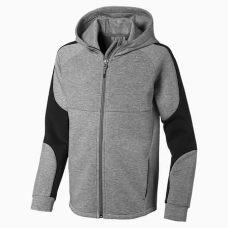 Evostripe Boys' Hooded Jacket, Medium Gray Heather, small