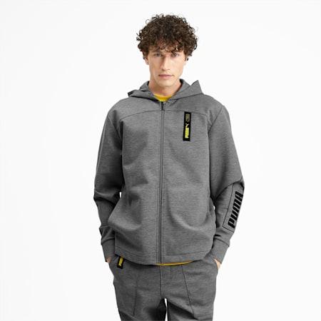 NU-TILITY Men's Full Zip Hoodie, Medium Gray Heather, small