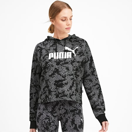 Essentials Plus Logo Cropped Women's Hoodie, Puma Black, small-IND
