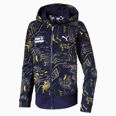 Alpha Hooded Boys' Sweat Jacket, Peacoat, small-IND