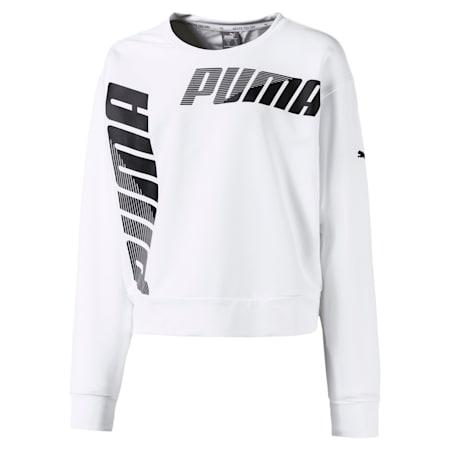 Modern Sports Crew Girls' Sweater, Puma White, small-IND