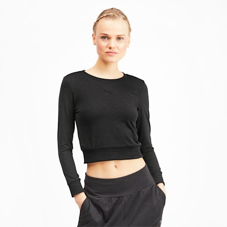 Soft Sports Long Sleeve Women's Tee, Puma Black Heather, small-IND