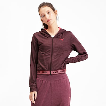 SOFT SPORTS Hooded Women's Sweat Jacket, Vineyard Wine Heather, small-IND