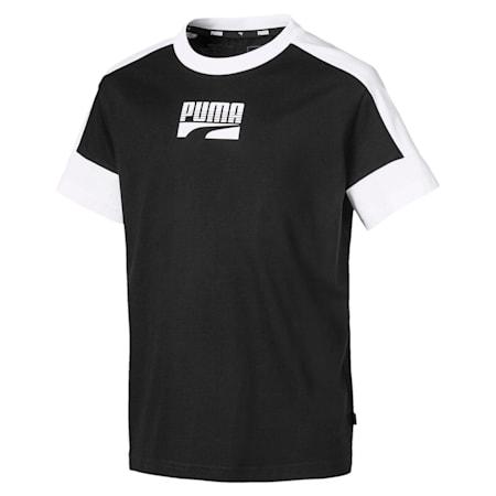 Rebel Short Sleeve Boys' Tee, Puma Black, small-IND