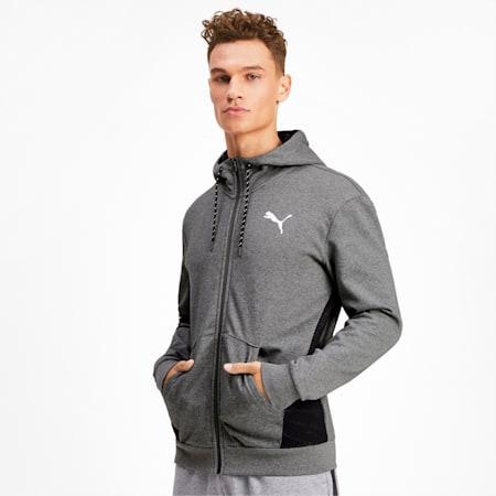 Modern Sports Full Zip Men's Hoodie, Medium Gray Heather, small-IND