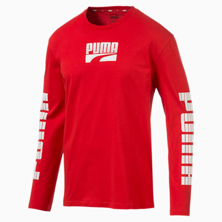 Rebel Bold Long Sleeve Men's Tee, High Risk Red, small-SEA