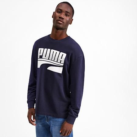 Rebel Bold Men's Crewneck Sweatshirt, Peacoat, small