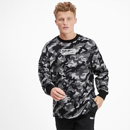Rebel Camo Men's Fleece Crewneck Sweatshirt, Puma Black, small