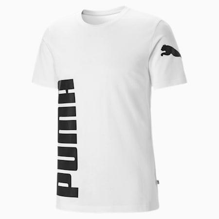 Męska koszulka z krótkim rękawem z dużą grafiką logo, Puma White, small