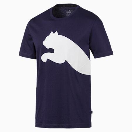 Big Logo Graphic Short Sleeve Men's Crewneck T-Shirt, Peacoat, small-IND