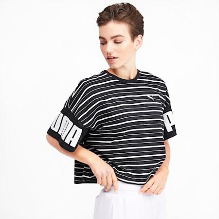 Rebel Striped Short Sleeve Women's Tee, Puma Black, small-IND