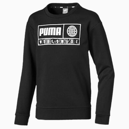 キッズ アルファ グラフィック クルー スウェット FL, Puma Black, small-JPN