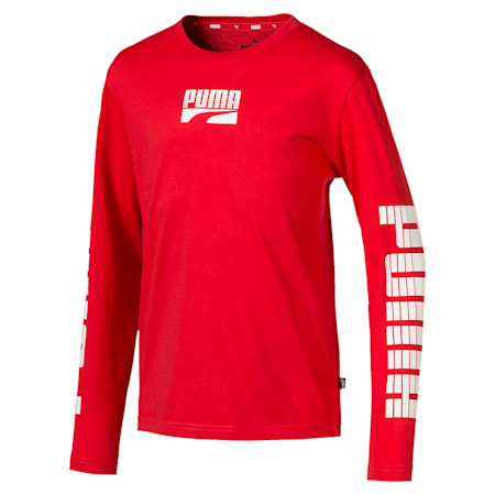 キッズ REBEL LS ボールド Tシャツ 長袖, High Risk Red, small-JPN
