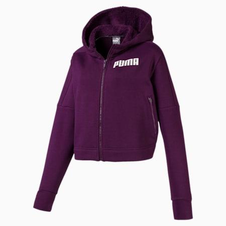 NU-TILITY ウィメンズ フーデッド スウェット ジャケット, Plum Purple, small-JPN