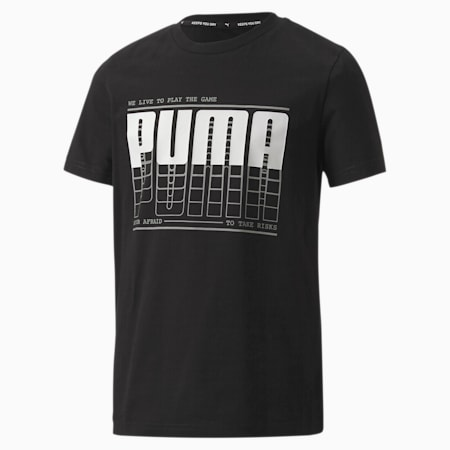 Active Sports Graphic Boys' Tee, Puma Black-wording, small-SEA