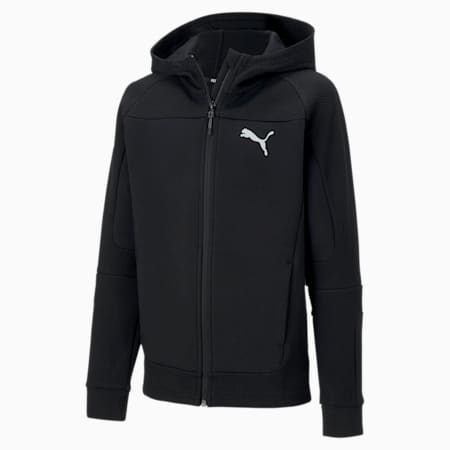 Evostripe Hooded Boys' Jacket, Puma Black, small