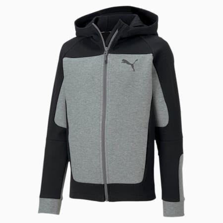 Evostripe Hooded Boys' Jacket, Medium Gray Heather, small