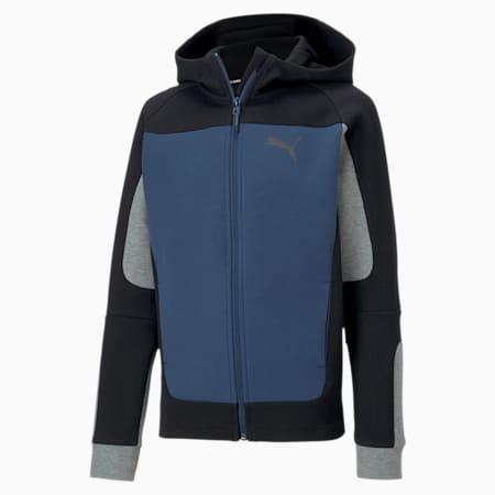 Evostripe Hooded Boys' Jacket, Dark Denim, small