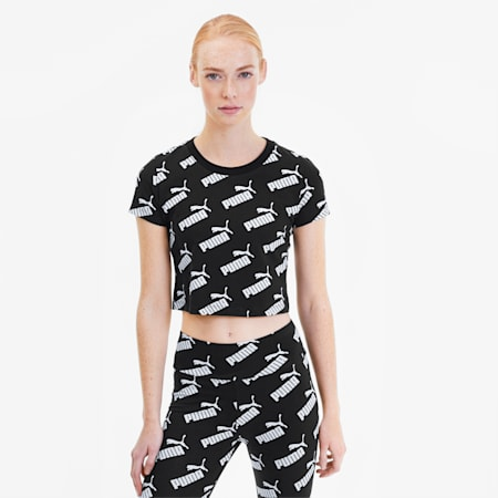 Amplified Women's AOP Fitted Tee, Puma Black, small