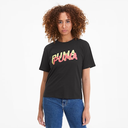 Modern Sports Logo Women's Tee, Puma Black-Sunny Lime, small-SEA