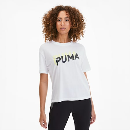 Modern Sports Women's Logo Tee, Puma White-Sunny Lime, small