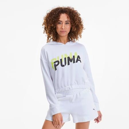 Modern Sports Women's Hoodie, Puma White-Sunny Lime, small