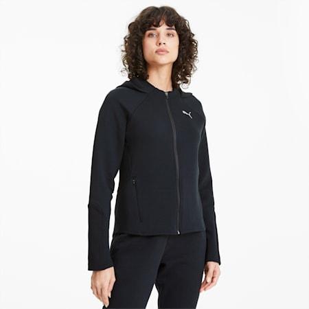 Evostripe hoodie met rits voor dames, Puma Black, small