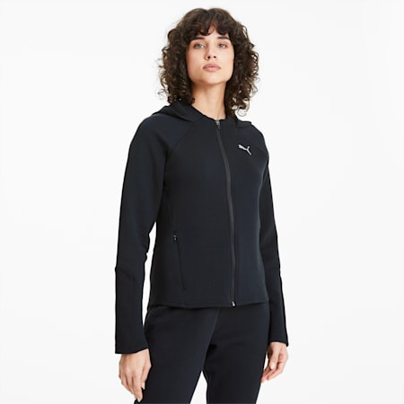 Evostripe Full Zip Women's Hoodie, Puma Black, small-SEA