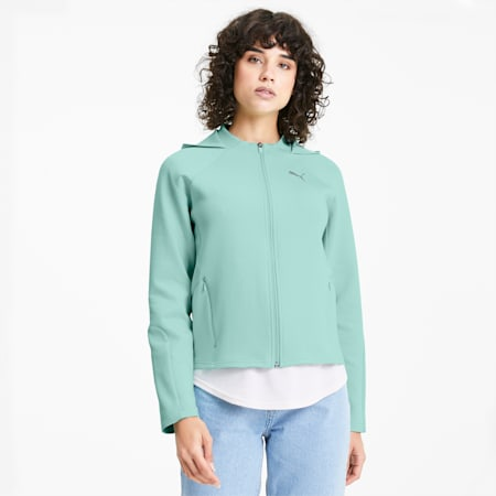 Evostripe Full Zip Women's Hoodie, Mist Green, small