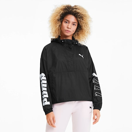 Half Zip Women's Windbreaker, Puma Black, small